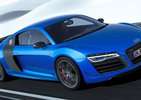 Fahraufnahme     Farbe: Arablau Kristalleffekt    Verbrauchsangaben Audi R8 5.2 LMX:Kraftstoffverbrauch kombiniert in l/100 km: 12,9;CO2-Emission kombiniert in g/km: 299